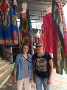 Deddy and Caitlin in a sea of fabric!