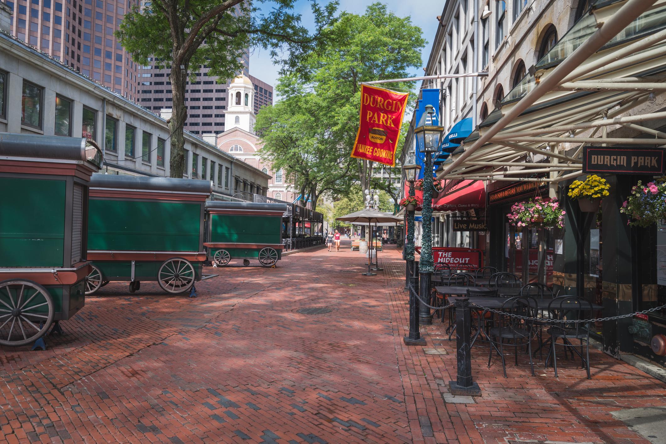 Boston, United States - June 18th, 2017: Street scene along the Freedom Trail in Boston, MA
