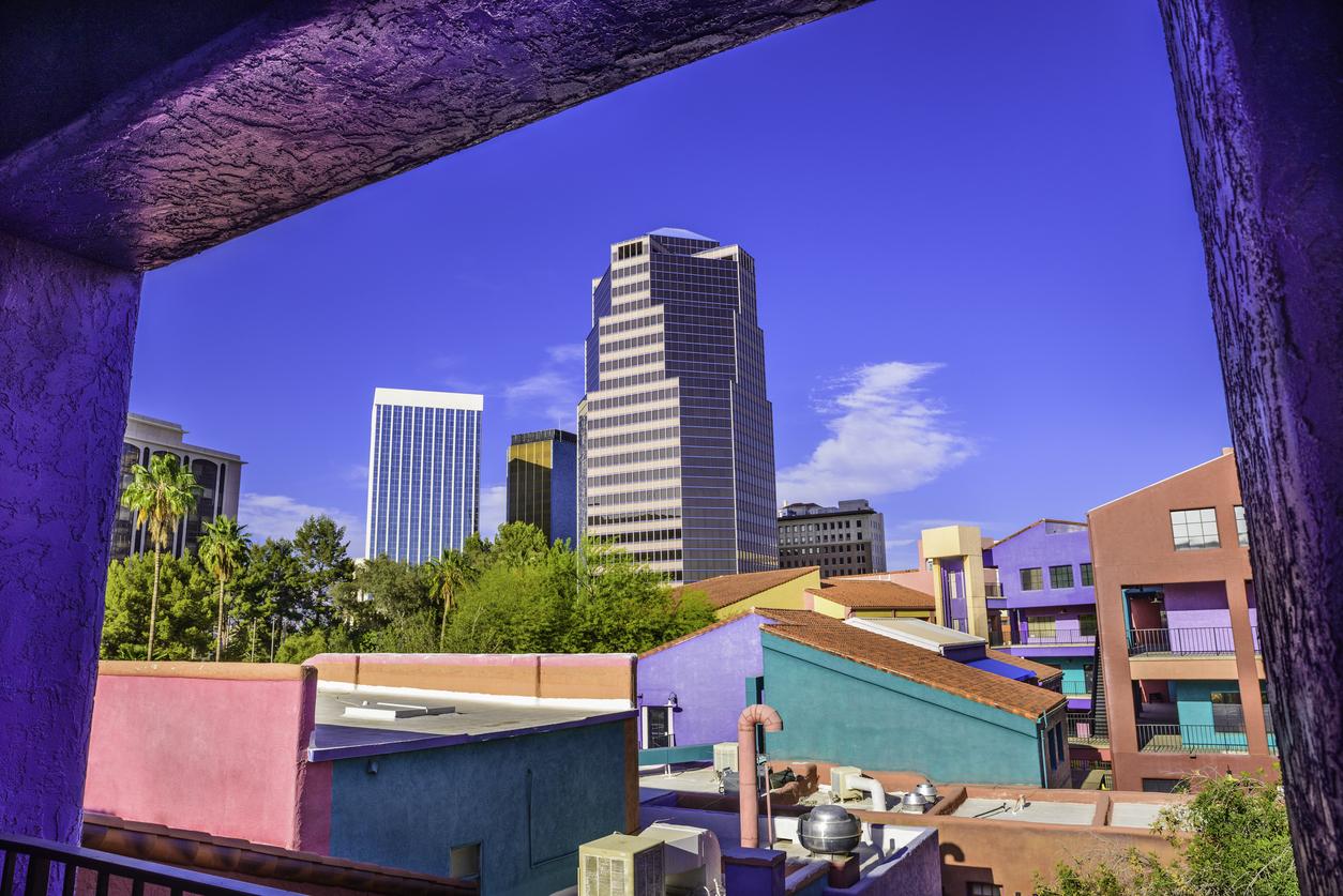 Downtown Tucson Arizona La Placita Village, Skyscrapers - window view