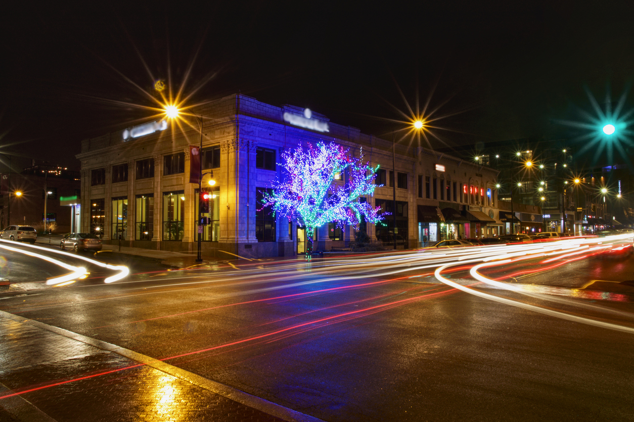 Downtown Columbia, MO on Broadway at night.