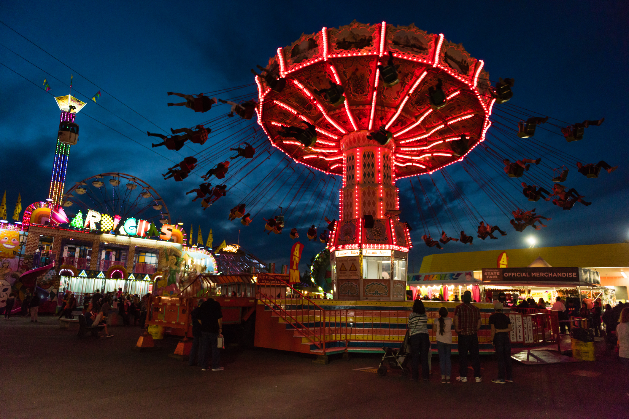 State Fair in Puyallup at twilight. The Fair is known by locals as the Puyallup fair and has been running since 1900.