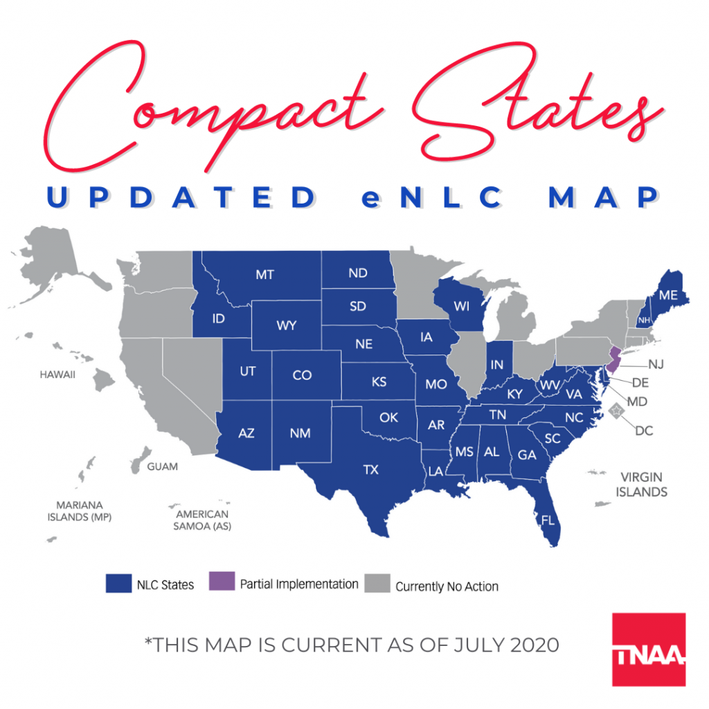 compact state map nurse licensure compact